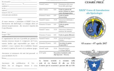 XXIX Corso di Introduzione alla speleologia